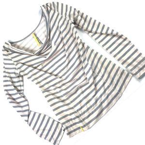 Lole Merino Blend Striped Cowl Neck Long Sleeve T